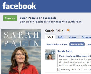 A screen capture from Sarah Palin's Facebook page.