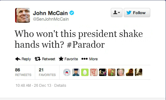 A tweet from Arizona Senator John McCain Thursday morning.