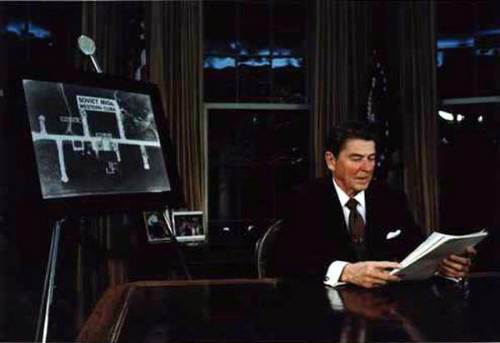 President Reagan prepares for his address to the nation on March 23, 1983