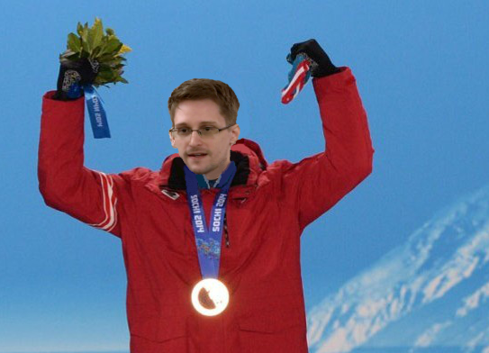 Edward Snowden celebrates his gold medal win in cross-country skiing.