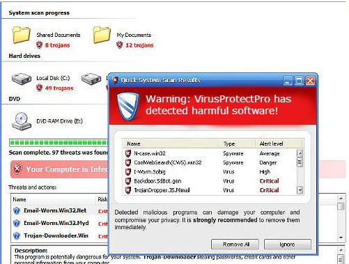 VirusProtectPro's warning message.